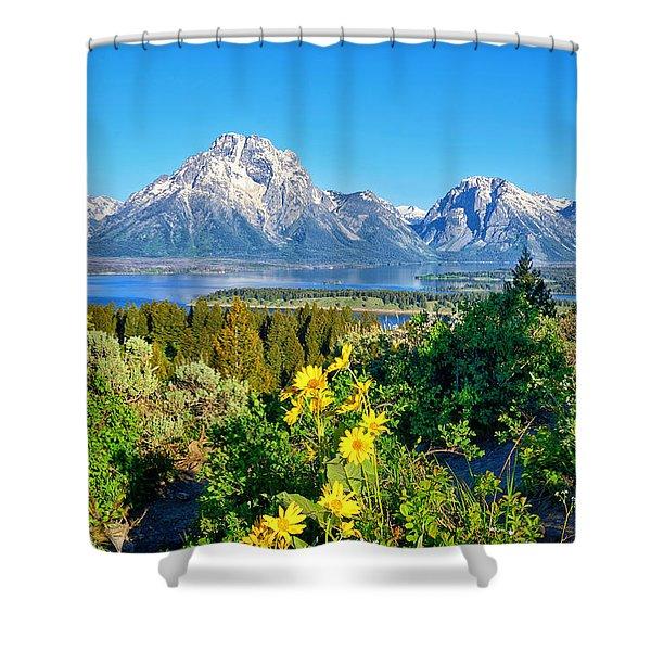 Teton Spring From Signal Mtn Summit Shower Curtain