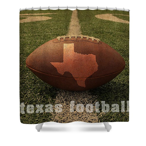 Texas Football Art - Leather State Emblem On Marked Field Shower Curtain