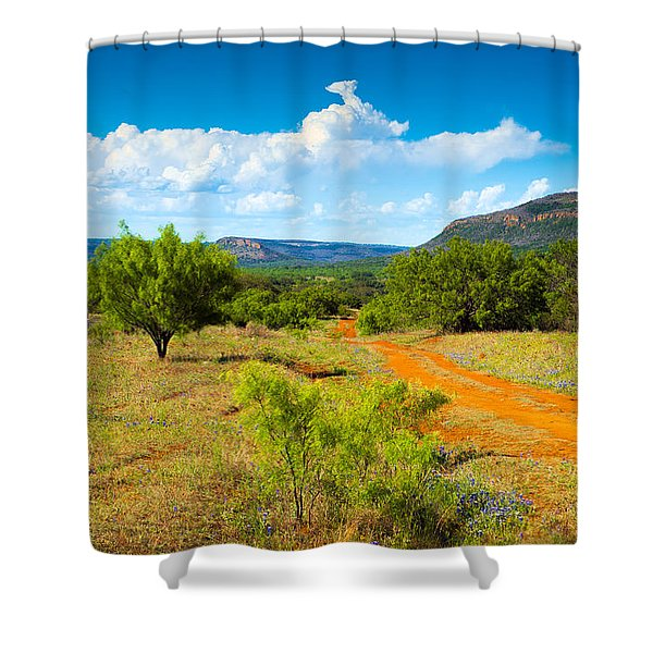 Texas Hill Country Red Dirt Road Shower Curtain