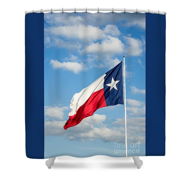 Texas State Flag Waving Shower Curtain