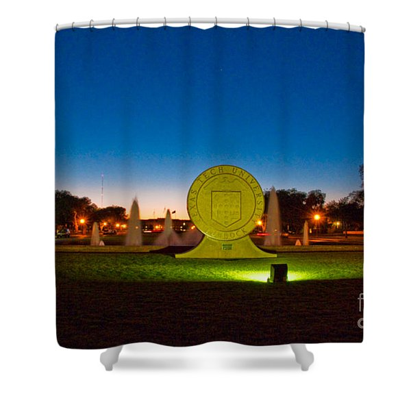 Shower Curtain featuring the photograph Texas Tech Seal At Night by Mae Wertz