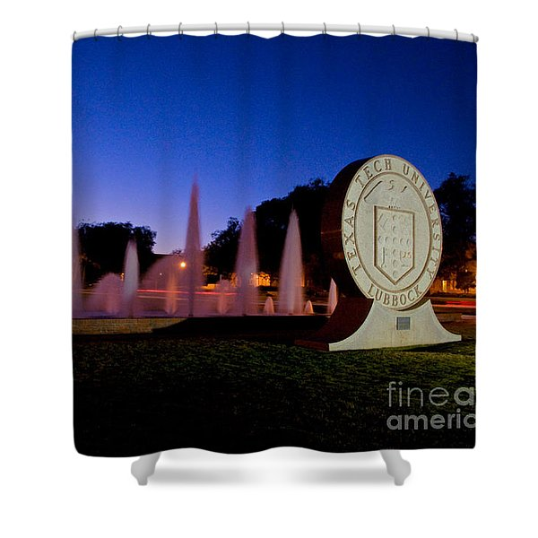 Shower Curtain featuring the photograph Texas Tech University Seal And Blue Sky by Mae Wertz