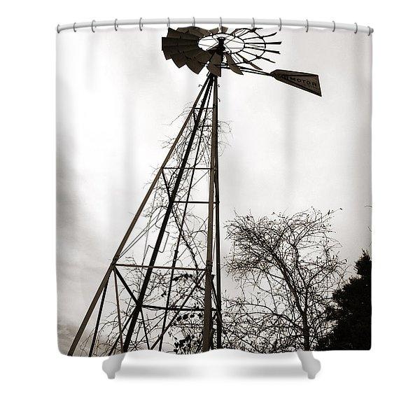 Texas Windmill Shower Curtain