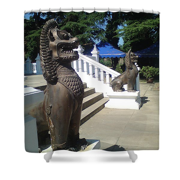 Thai Temple Steps Shower Curtain