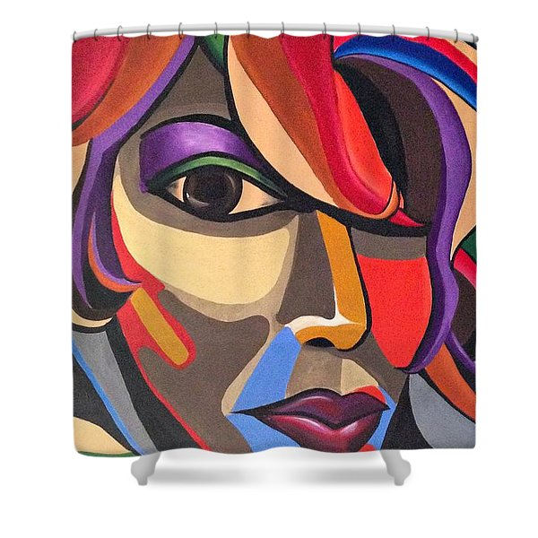 Abstract Woman Art, Abstract Face Art Acrylic Painting Shower Curtain