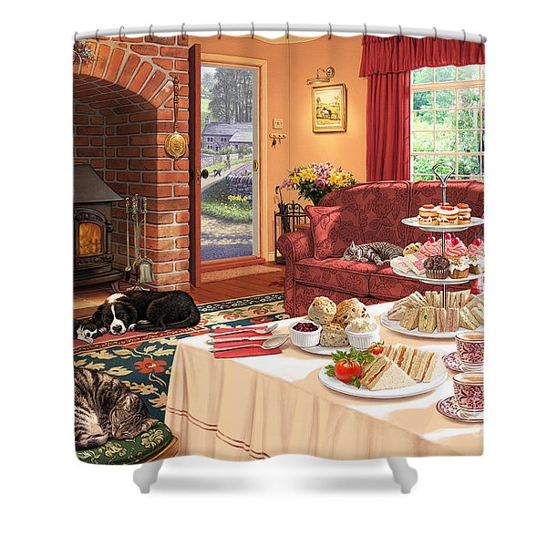 The Afternoon Visitor Shower Curtain