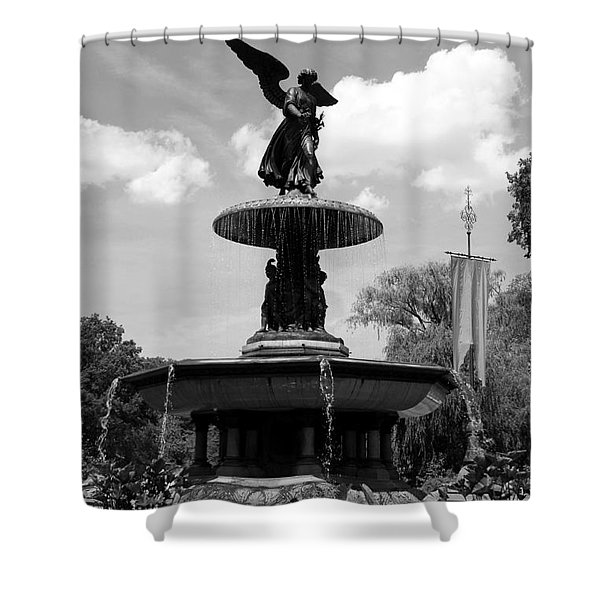 The Angel Of Waters B W - Central Park  Nyc Shower Curtain