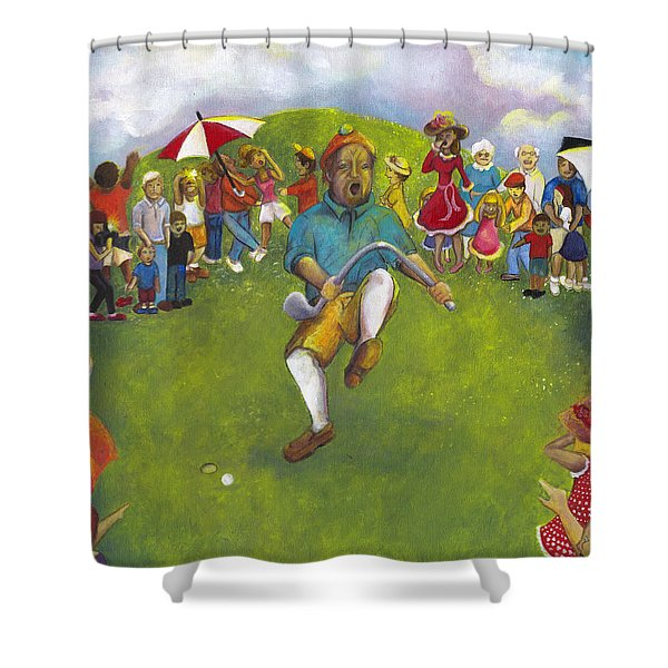 The Angry Golfer  Shower Curtain