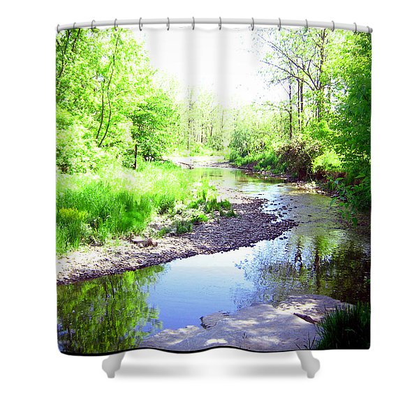The Babbling Stream Shower Curtain