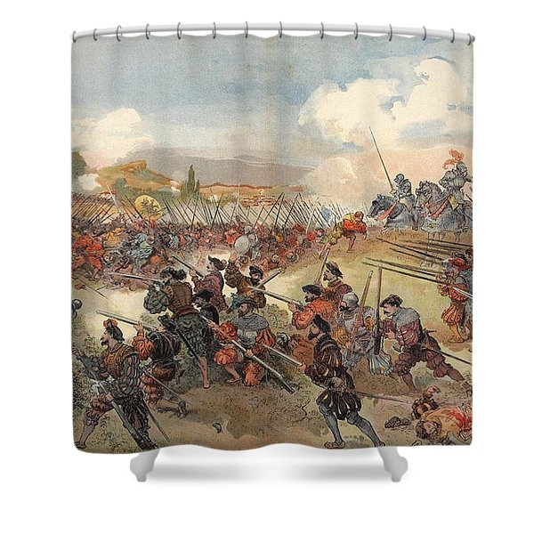 The Battle Of Cerisole, Illustration Shower Curtain