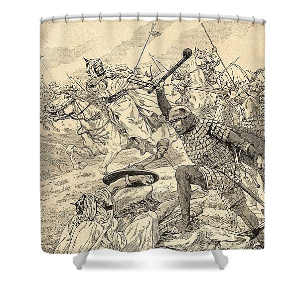 The Battle Of Tours Aka The Battle Of Poitiers, 732.   From Agenda Buvard Du Bon Marche Published Shower Curtain