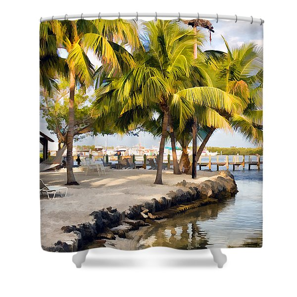 The Beach At Coconut Palm Inn Shower Curtain