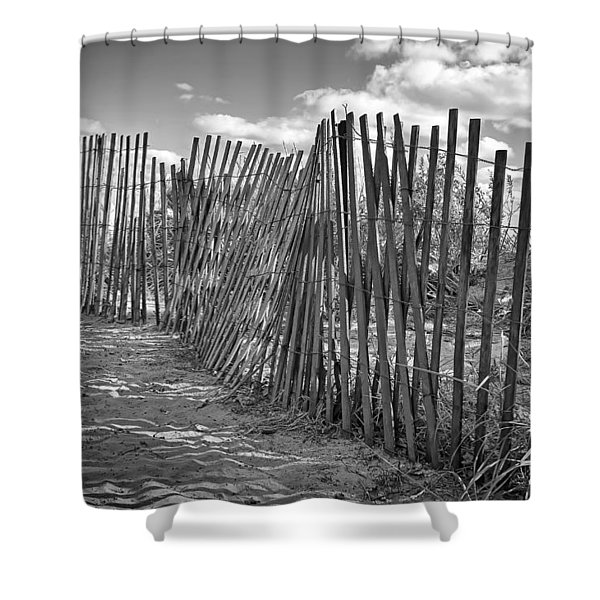 The Beach Fence Shower Curtain