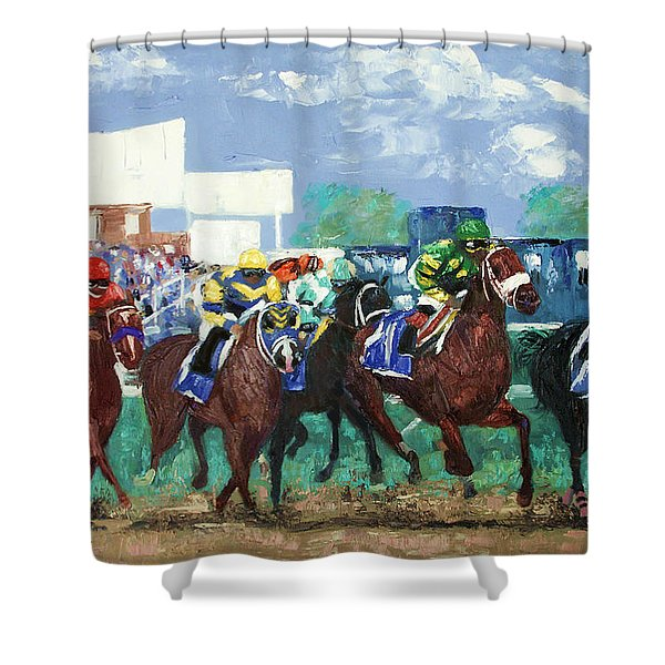 Shower Curtain featuring the painting The Bets Are On Again by Anthony Falbo