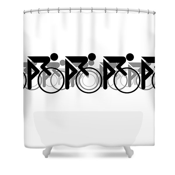 The Bicycle Race 2 White Shower Curtain