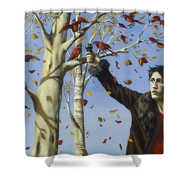 The Birds In Our Garden Acrylic & Oil On Canvas Shower Curtain