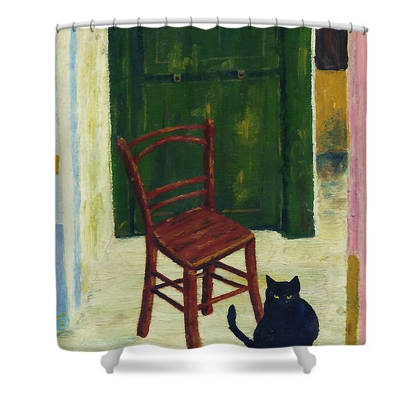 The  Black Cat Shower Curtain