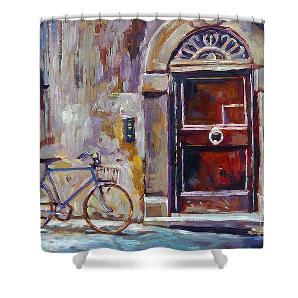 The Blue Bicycle Shower Curtain
