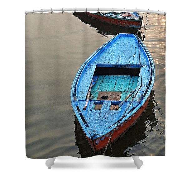The Blue Boat Shower Curtain
