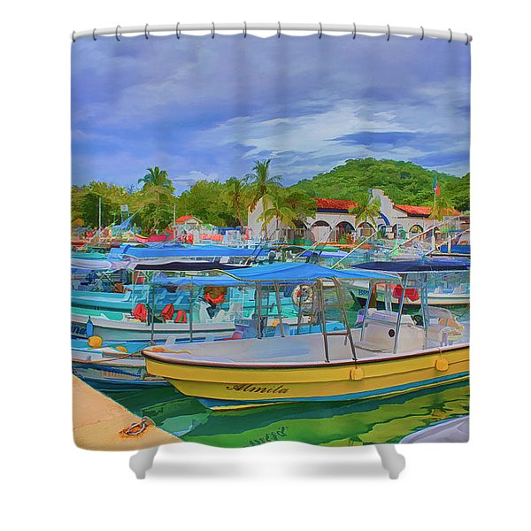 The Boats Of Hautulco Shower Curtain