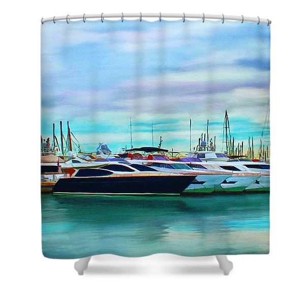The Boats Of Malaga Spain Shower Curtain