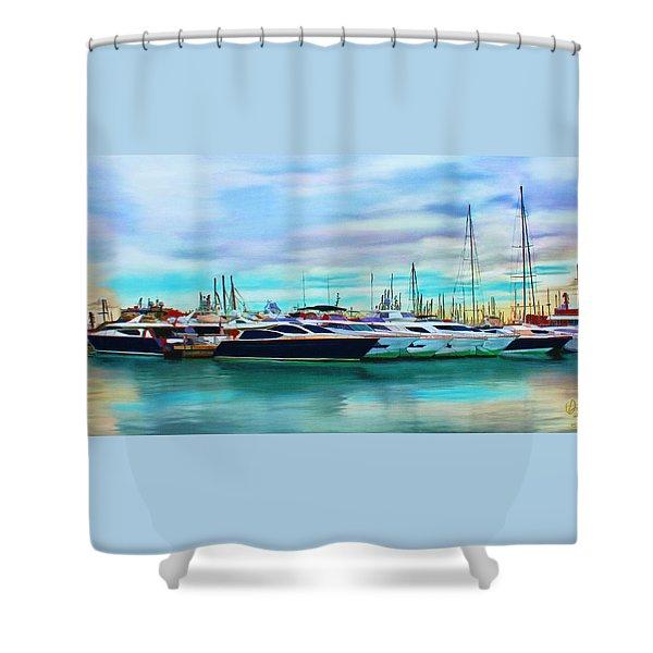 The Boats Of Malaga Spain Shower Curtain