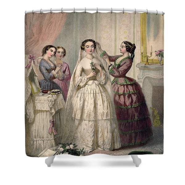 The Bride, Engraved By J. Battannier, 1852-53 Colour Litho Shower Curtain