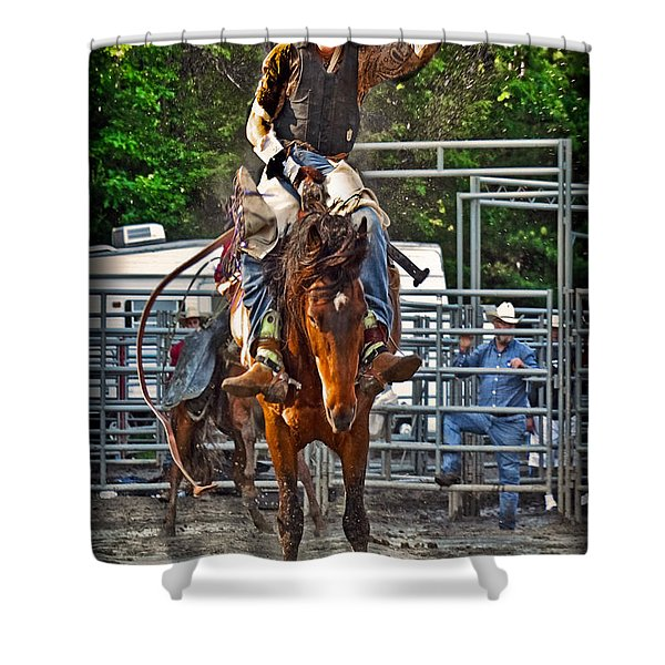The Bronco Rider Shower Curtain