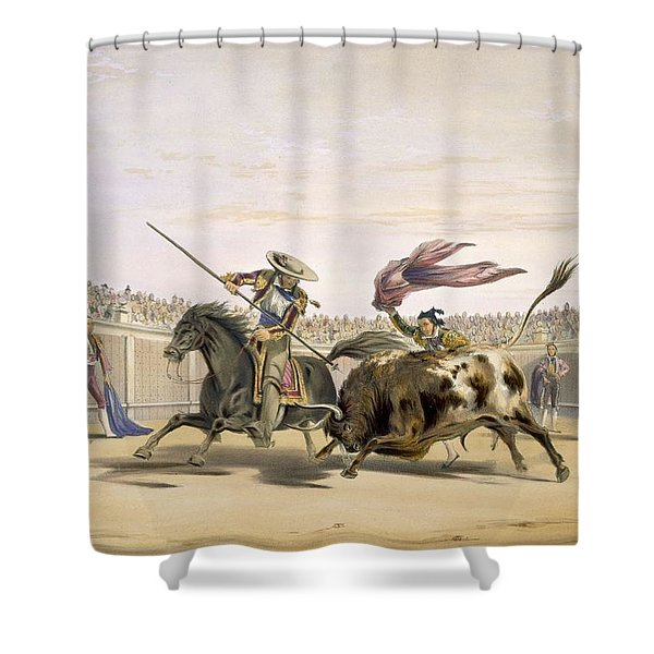 The Bull Following Up The Charge, 1865 Shower Curtain