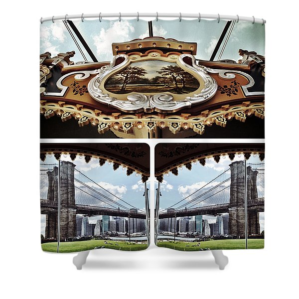 The Carousel And The Bridge Shower Curtain