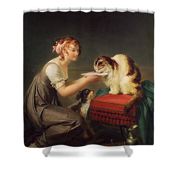 The Cats Lunch Oil On Canvas Shower Curtain