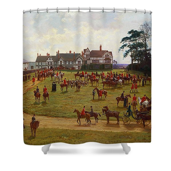 The Cheshire Hunt    The Meet At Calveley Hall  Shower Curtain