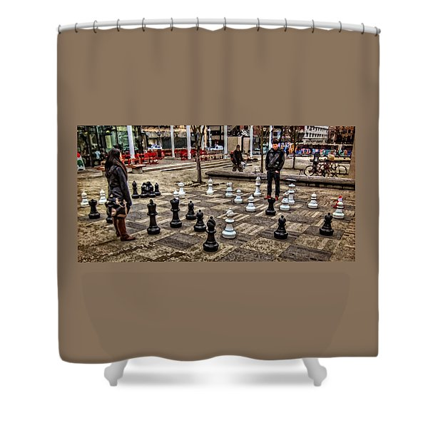 The Chess Match In Portland Shower Curtain