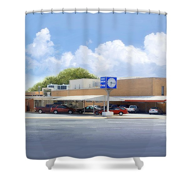 The Clock Drive-in Shower Curtain