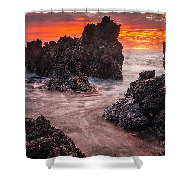 The Colours Of Sunrise Behind Coastal Shower Curtain