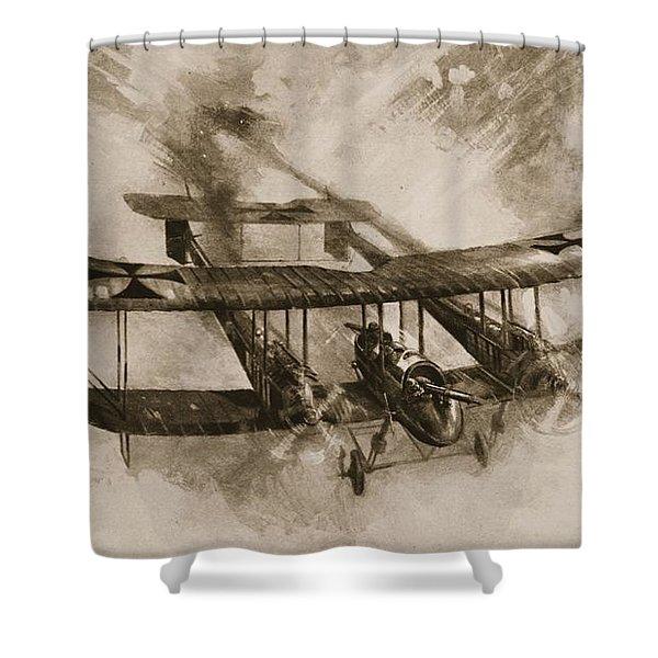 German Biplane From The First World War Shower Curtain