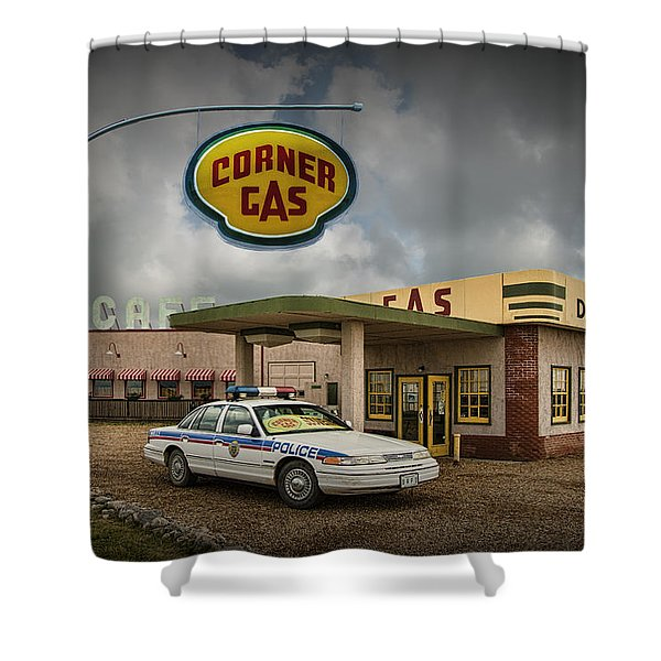 The Corner Gas Station From The Canadian Tv Sitcom Shower Curtain