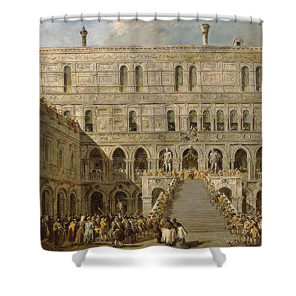The Coronation Of The Doge Of Venice On The Scala Dei Giganti Of The Palazzo Ducale, 1766-70 Oil Shower Curtain