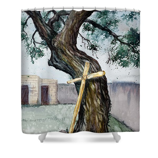 Da216 The Cross And The Tree By Daniel Adams Shower Curtain