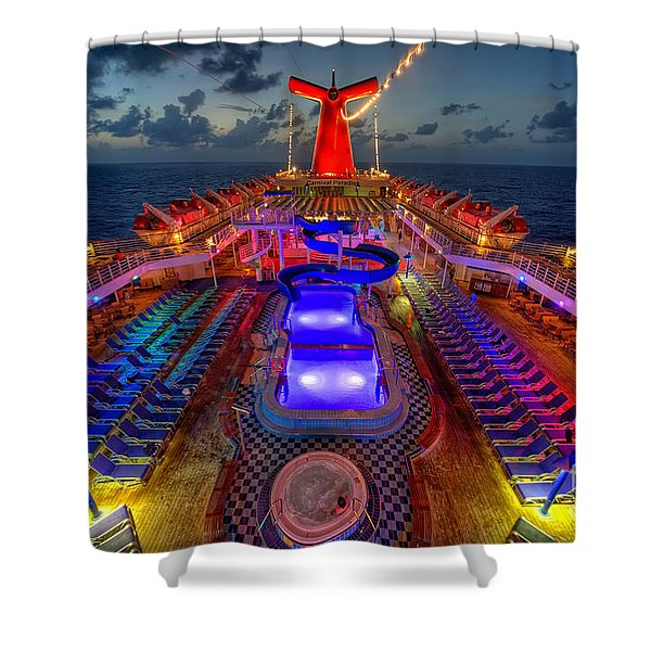 The Cruise Lights At Night Shower Curtain