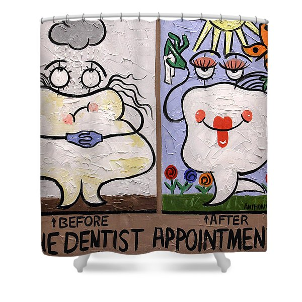 Shower Curtain featuring the painting The Dentist Appointment Dental Art By Anthony Falbo by Anthony Falbo