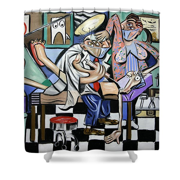 Shower Curtain featuring the painting The Dentist Is In by Anthony Falbo
