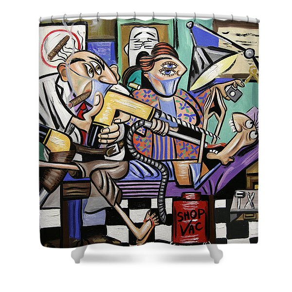 Shower Curtain featuring the painting The Dentist Is In Root Canal by Anthony Falbo