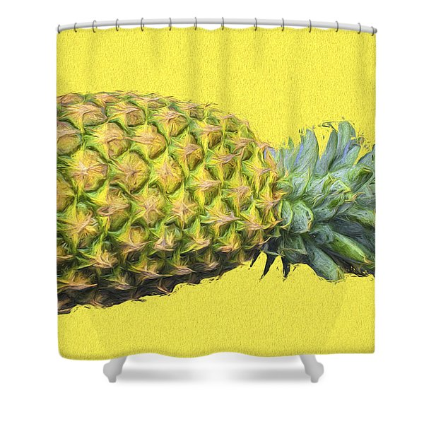 The Digitally Painted Pineapple Sideways Shower Curtain