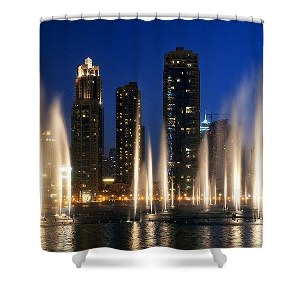 Shower Curtain featuring the photograph The Dubai Fountains by Fabrizio Troiani