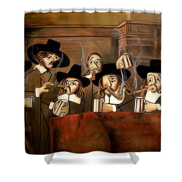 Shower Curtain featuring the painting The Dutch Masters by Anthony Falbo