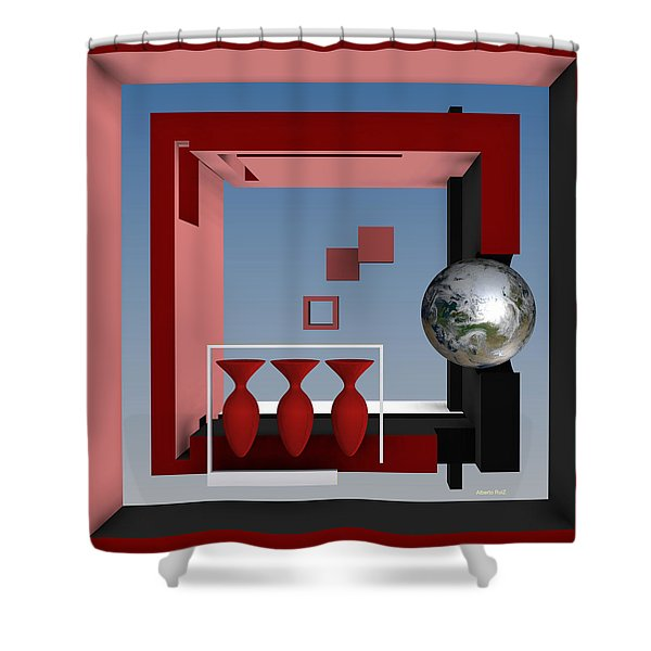 The Earth And Three Red Vases Shower Curtain