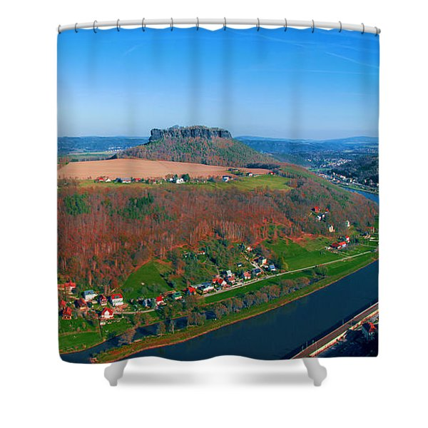 The Elbe Around The Lilienstein Shower Curtain