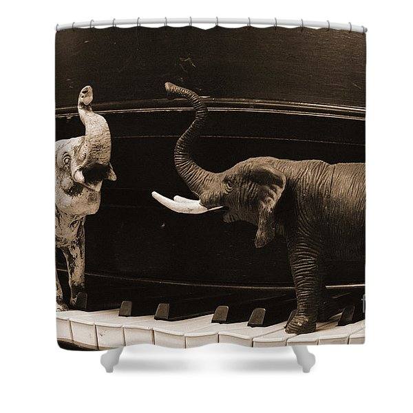 The Elephant Walk Shower Curtain