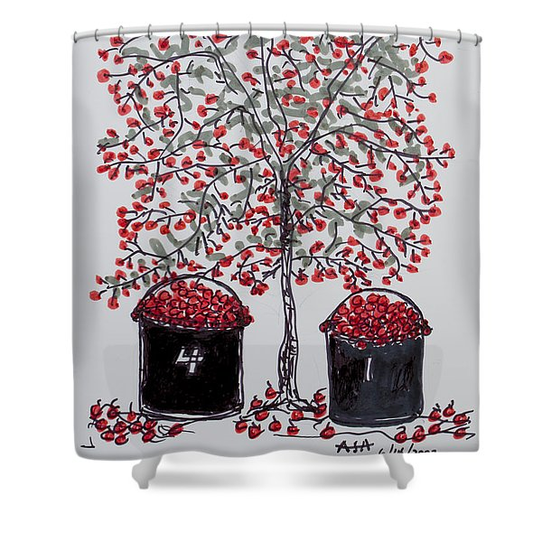 The Famous Door County Cherry Tree Shower Curtain